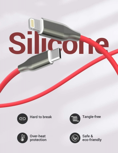 Silicone USB-C to Lightning cable